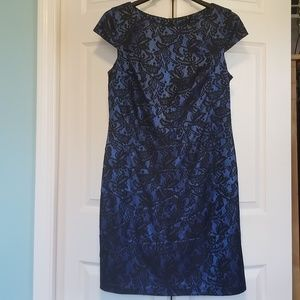 Blue & Black Lace Cap Sleeve Dress